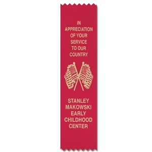 "2-1/2"" x 8"" Hot Stamped Pinked Top and Bottom Ribbons"