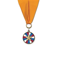 "1-1/8"" CXC Color Fill Medal w/ Grosgrain Neck Ribbon"