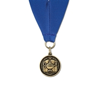 "1-1/8"" Cast CX Medal w/ Grosgrain Neck Ribbon"