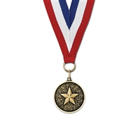 "1-1/8"" Cast CX Stock Medal w/ Red/White/Blue or Year Grosgrain Neck Ribbon"