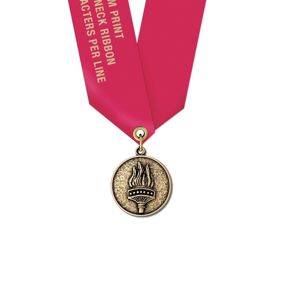 1 1 8 Quot Cast Cx Medal W Solid Color Satin Neck Ribbon