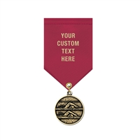 "1-1/8"" Cast CX Medal w/ Solid Color Satin Drape Ribbon"