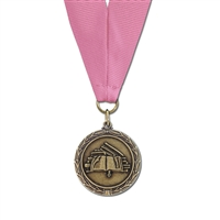 "1-1/2"" Cast MX Medals w/ Grosgrain Neck Ribbon"