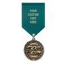 "1-1/2"" Cast MX Medals w/ Solid Color Satin Drape Ribbon"