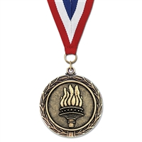 "2-1/4"" Cast LX Stock Medal w/ Red/White/Blue or Year Grosgrain Neck Ribbon"