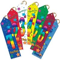 "2"" x 8"" Multicolor Stock Point Top Ribbons"