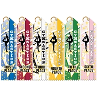 "2"" x 8"" Multicolor Gym Star Point Top Ribbons"