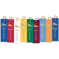 "2"" x 8"" Swimming Stock Square Top Ribbons"