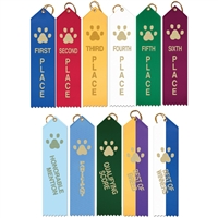 "2"" x 8"" Paw Print Stock Point Top Ribbons"