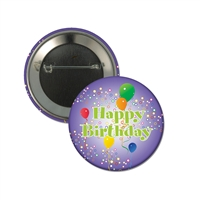 "2-1/4"" Full Color ""Happy Birthday Balloon"" Stock Buttons"