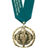 "2-3/8"" ES Medal w/ Solid Color Satin Neck Ribbon"