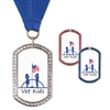 "1-3/8"" x 2-1/4"" GEM Tag Full Color Medal w/ Grosgrain Neck Ribbon"