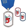 "1-3/8"" x 2-1/4"" GEM Tag Full Color Medal w/ Solid Color Satin Neck Ribbon"