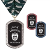 "1-3/8"" x 2-1/4"" GEM Tag Full Color Medal w/ Stock Millennium Neck Ribbon"