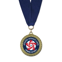 "1-3/4"" LFL Full Color Medal w/ Grosgrain Neck Ribbon"
