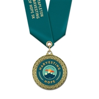 "1-3/4"" LFL Full Color Medal w/ Solid Color Satin Neck Ribbon"