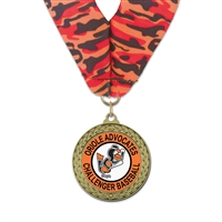 "1-3/4"" GFL Full Color Medal w/ Stock Millennium Neck Ribbon"