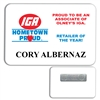 Classic White PVC Plastic Name Badge w/ Magnetic Back