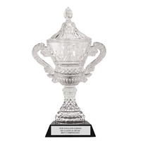 "12-3/4"" Devon Optical Crystal Trophy Cup w/ Attached Black Optical Crystal Base"