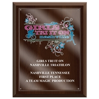 "7"" x 9"" Full Color Cherry Finish Plaque w/ Acrylic Overlay"
