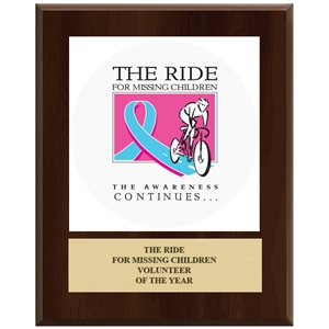 "12"" x 15"" Full Color Custom Plaque - Cherry Finish"