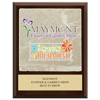 "9"" x 12"" Full Color Cherry Finish Plaque w/ Tumbled Stone Tile"
