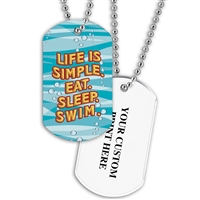 Full Color Dog Tags w/ Swimming Stock Designs & Print on Back