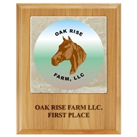 "8"" x 10"" Full Color Red Alder Plaque w/ Tumbled Stone Tile"