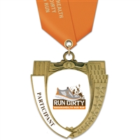 "2-3/4"" MS14 Full Color Medal w/ Solid Color Satin Neck Ribbon"