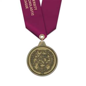 "1-3/4"" HL Medal w/ Solid Color Satin Neck Ribbon"