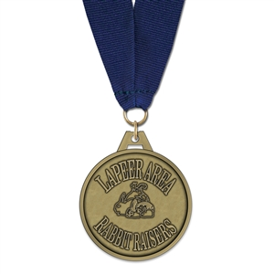 "2"" HG Medal w/ Grosgrain Neck Ribbon"