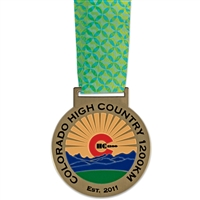 "2-1/2"" HS Medal w/ Custom Printed Looped Millennium Neck Ribbon"