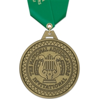 "3"" HH Medal w/ Solid Color Satin Neck Ribbon"