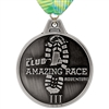 "3-1/2"" HE Medal w/ Custom Printed V-Stitched Millennium Neck Ribbon"