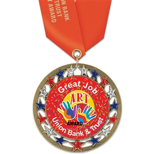 "2-3/4"" RSG Full Color Medal w/ Solid Color Satin Neck Ribbon"