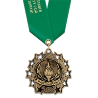 "2-1/4"" Cast TS Medal w/ Solid Color Satin Neck Ribbon"