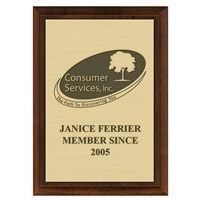 "5"" x 7"" Cherry Plaque w/ Engraved Plate"