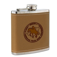 6 oz. Leather/Stainless Flask