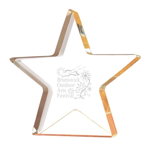 Engraved Gold Star Shimmer Acrylic
