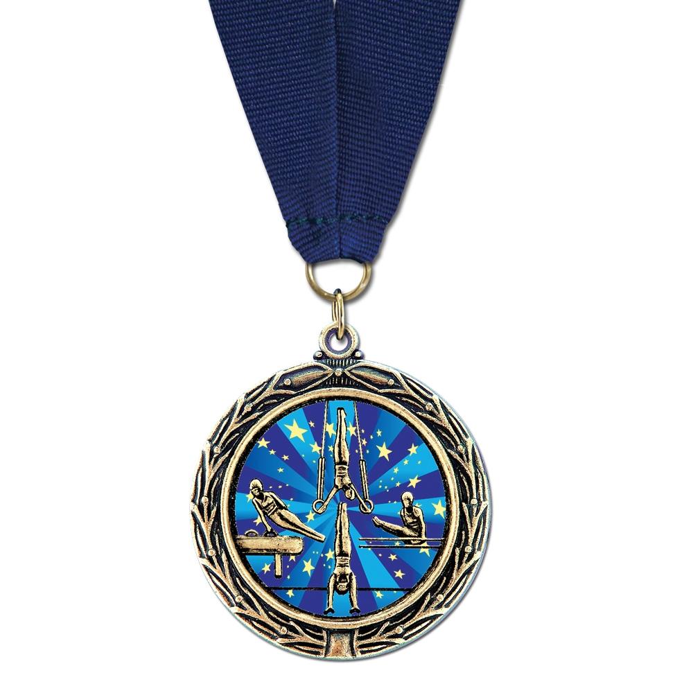 "2-1/4"" LXC Color Fill Medal w/ Grosgrain Neck Ribbon"